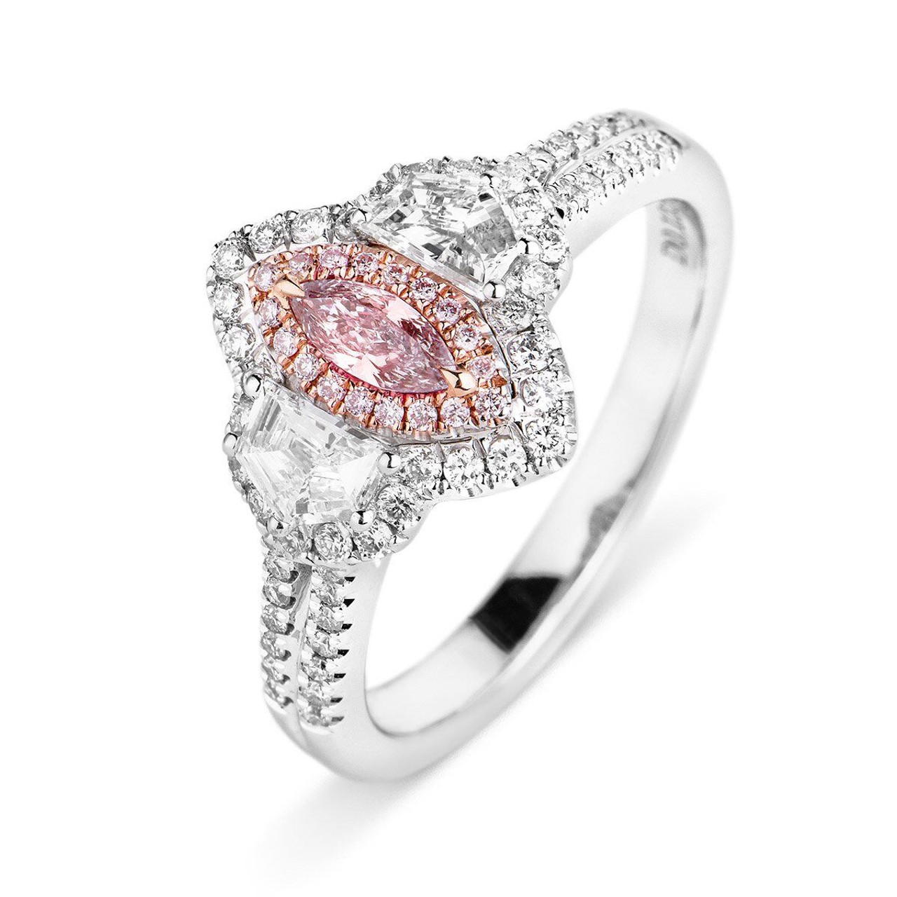 18kt white and rose gold pink marquise diamond halo ring wedding 18kt white and rose gold pink marquise diamond halo ring junglespirit Image collections