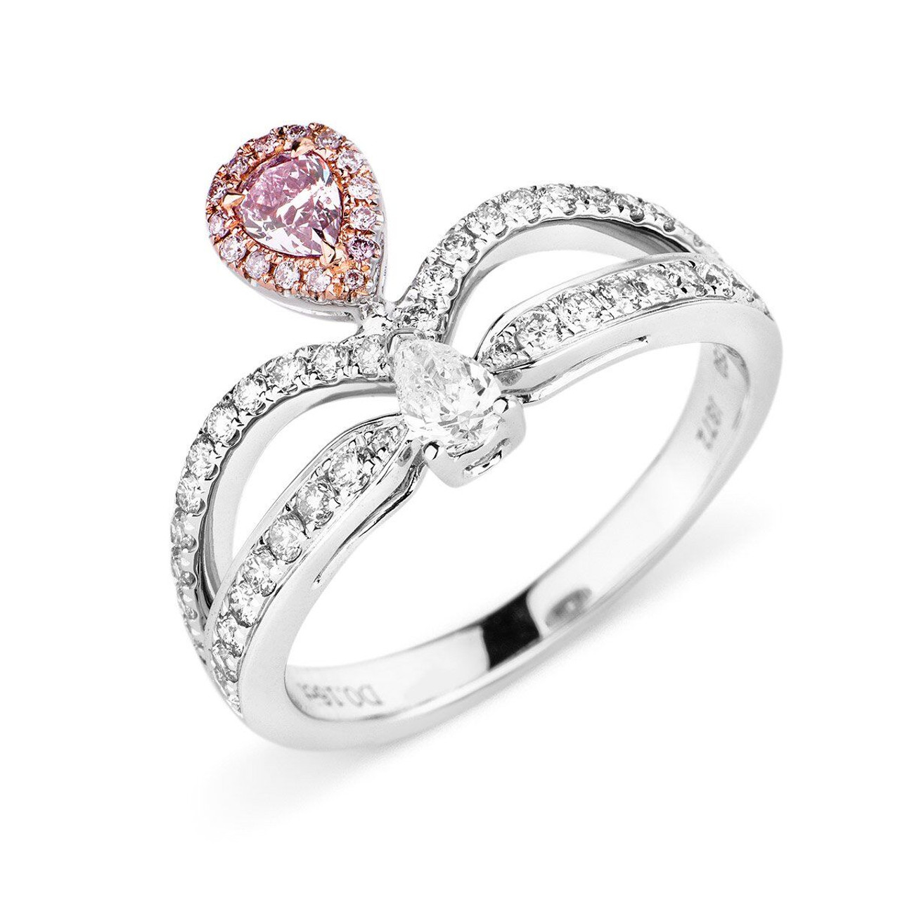 18kt White and Rose Gold Pear Shaped Pink Diamond Crown Ring ...