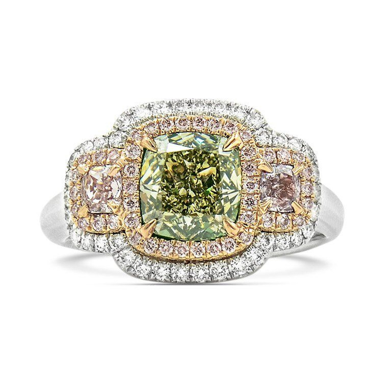 18kt white and rose gold green and pink diamond 3 stone ring 18kt white and rose gold green and pink diamond 3 stone ring junglespirit Choice Image