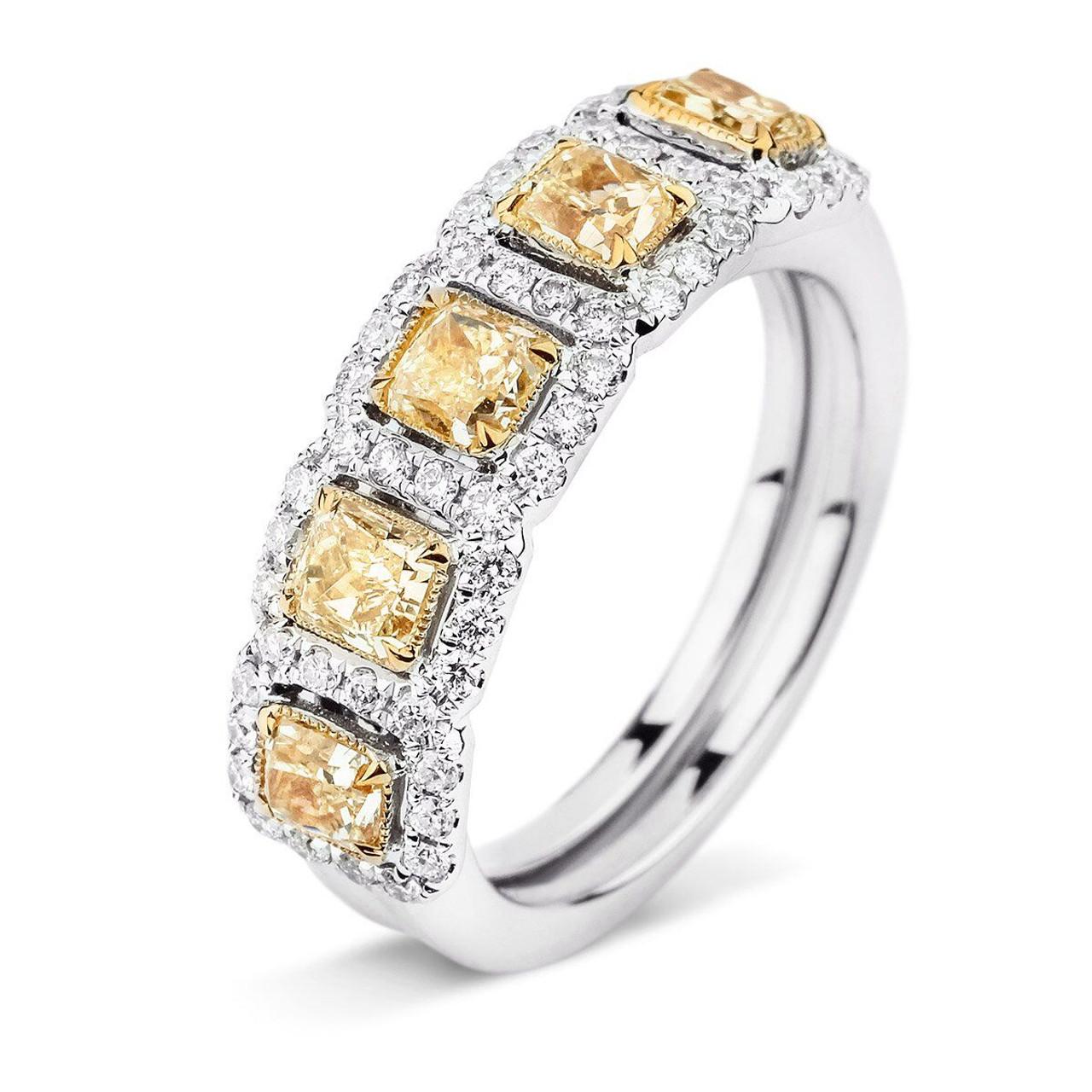 18kt White and Yellow Gold 5Stone Yellow Diamond Halo Band