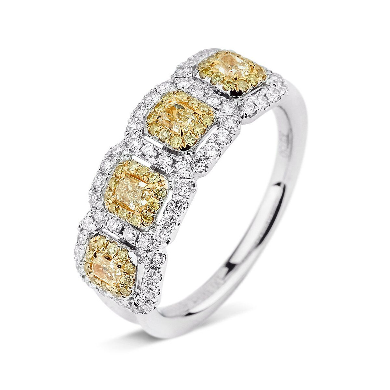 gold dk stone tetrad engagement nireland diamond ring rings cluster four