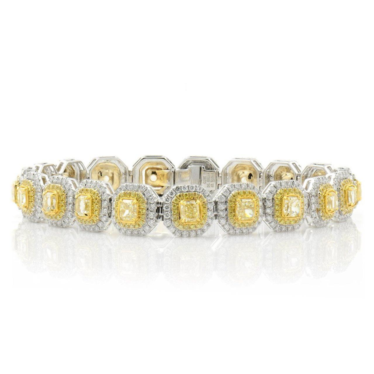 18kt White And Yellow Gold Double Halo Radiant Diamond Bracelet