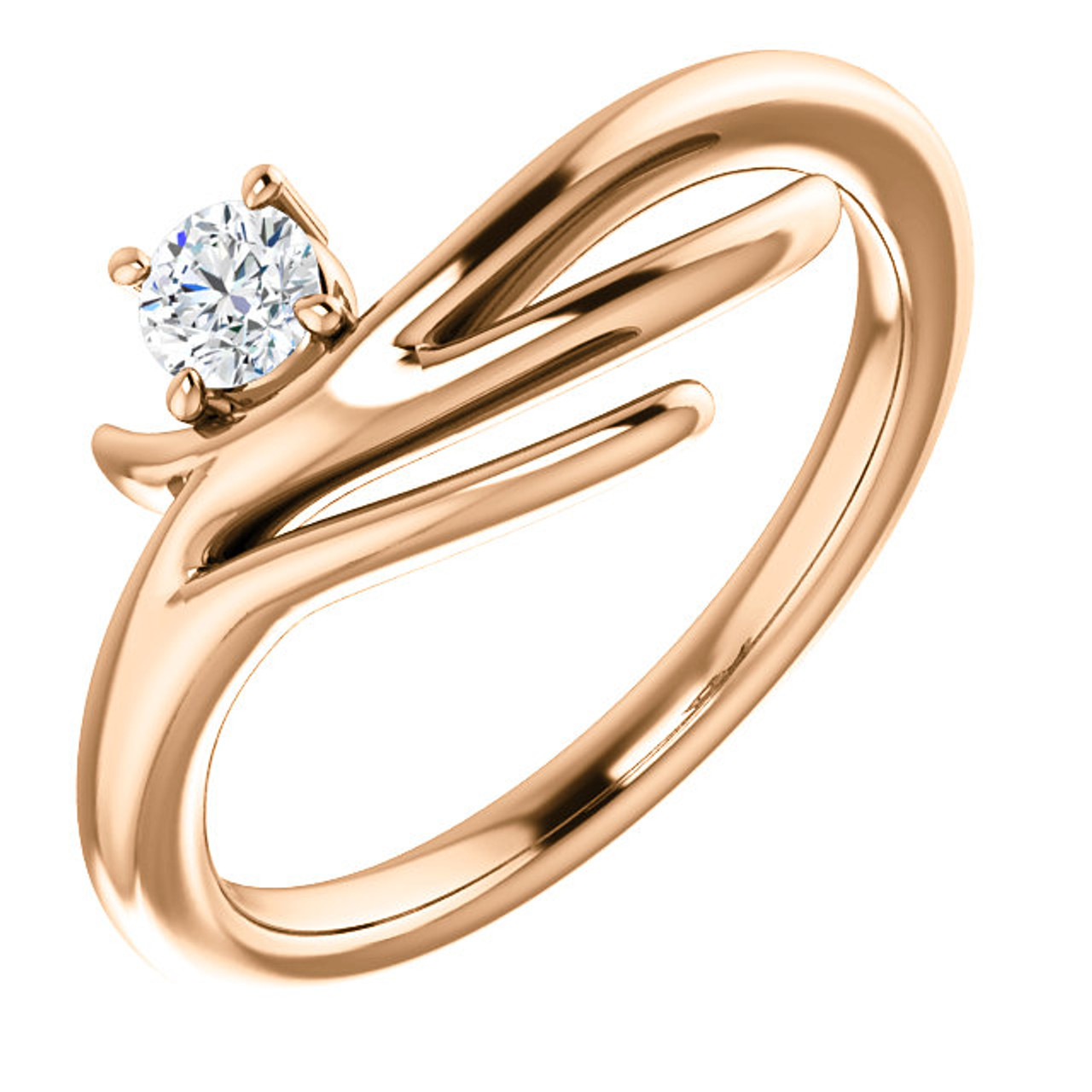 14kt Gold Organic FreeForm Solitaire Ring Wedding Bands Co