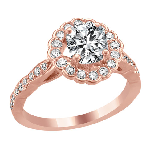 14K Rose Gold Cushion Halo Diamond Engagement Ring   Eros Style