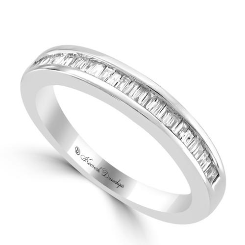 Womens unique design wedding bands 14k white gold channel set tapered baguette diamond wedding band junglespirit Images