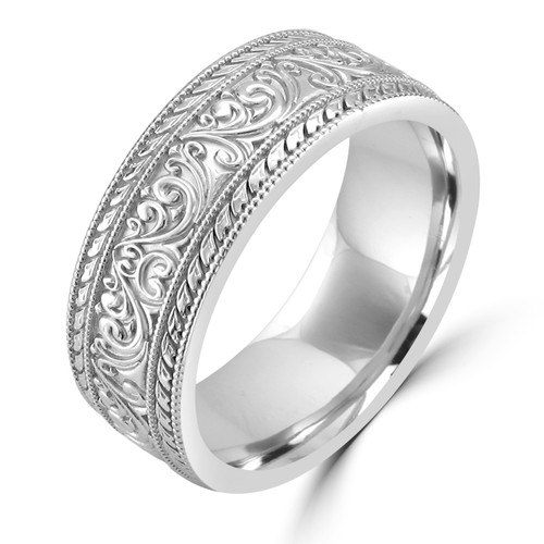14K White Gold Unique Art Nouveau Carved Wedding Band - Wedding ...