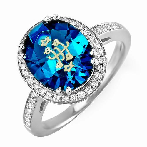 14k White Gold Oval Halo London Blue Bahai Ringstone Wedding
