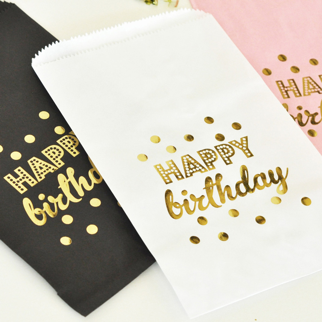 Birthday Favor Bags - Candy Buffet Bags - Pink and Gold Goodie Bags - Cookie Bag 24ct