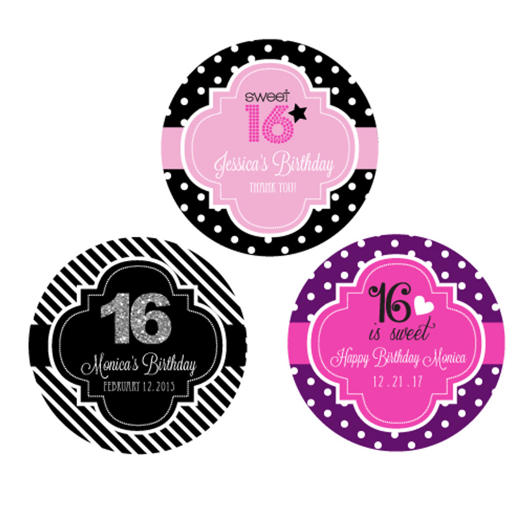 Sweet Sixteen Personalized Favor Labels, Quinceanera Stickers, Sweet 16 Favor Labels (48ct)