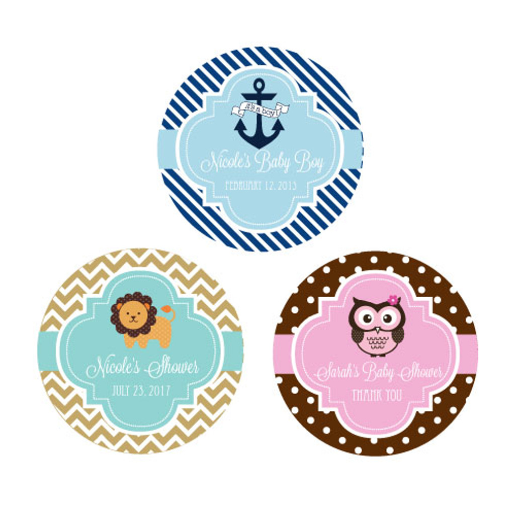 Baby Shower Personalized Favor Labels, Baby Shower Favor Stickers, Twins Baby Shower Label (48ct)
