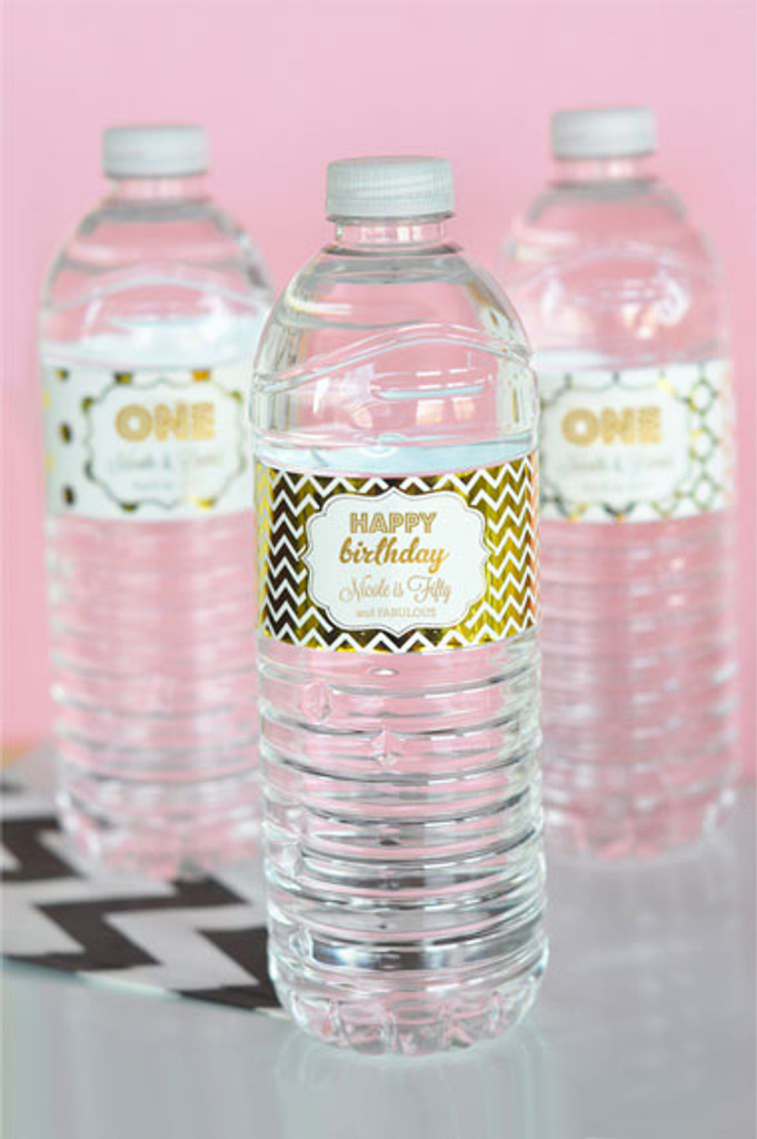 Personalized Water Bottle Labels, Metallic Gold Foil Water Bottle Labels, Birthday Water Labels (24ct)