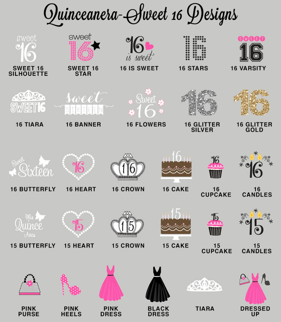 Sweet Sixteen Personalized Water Bottle Labels - Quinceanera Water Bottle Label 25ct