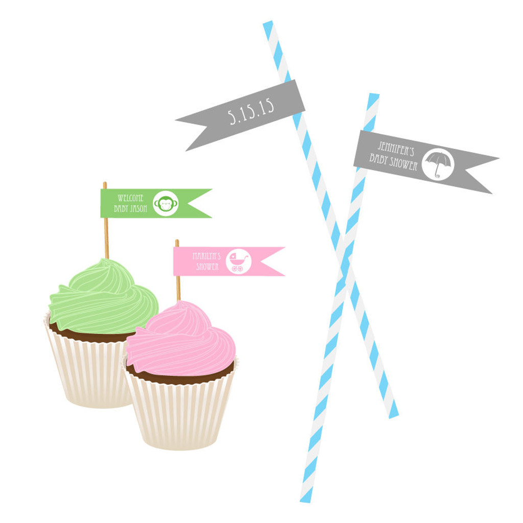 Personalized Flag Labels - Baby Shower Straw Flags - Mod Theme (40ct)
