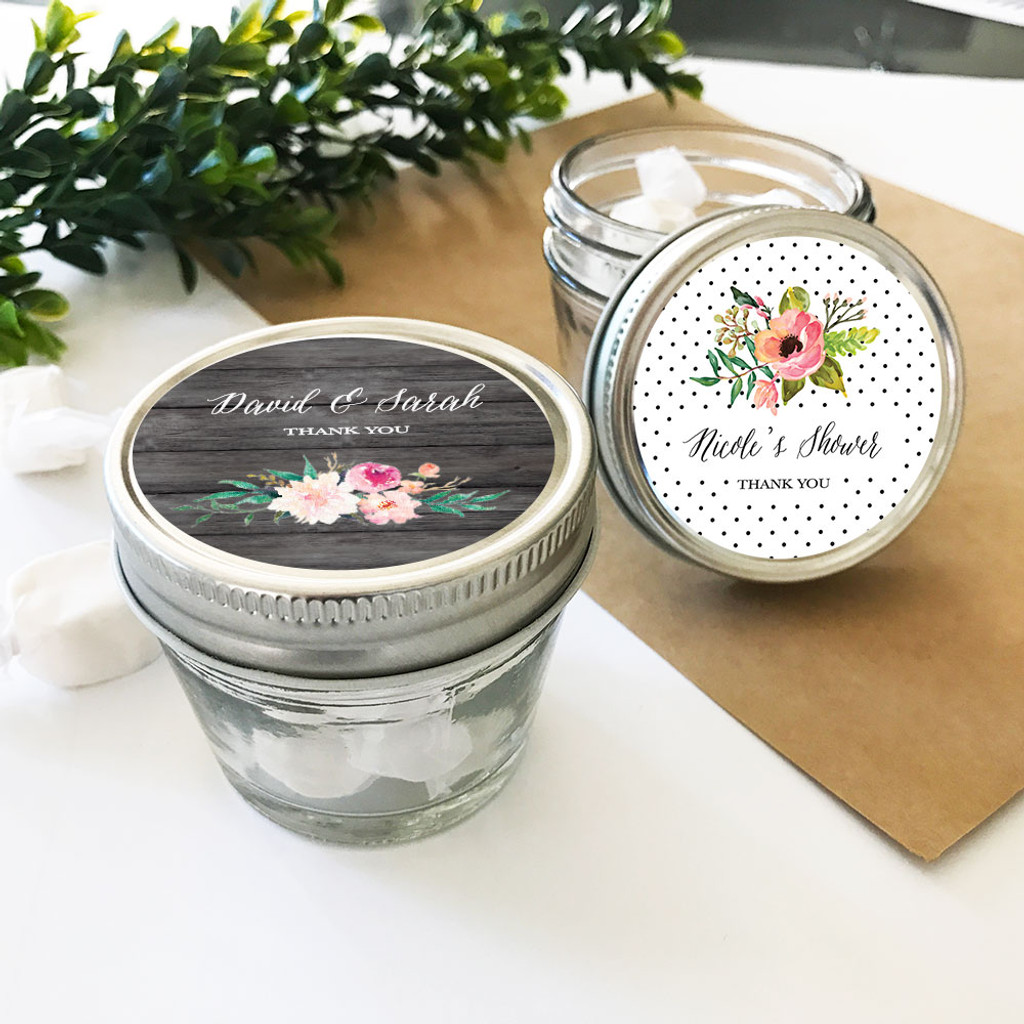 Personalized Floral Garden Small 4oz Mason Jars 12ct