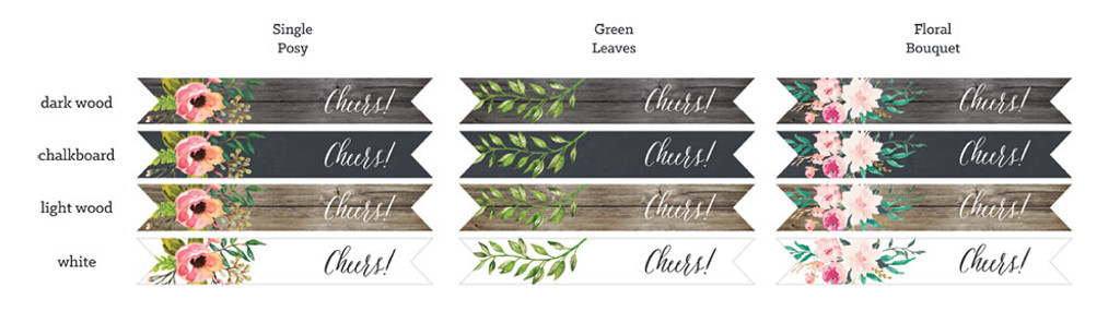 Flag Labels - Floral Garden - Wedding Straw Flags 40ct