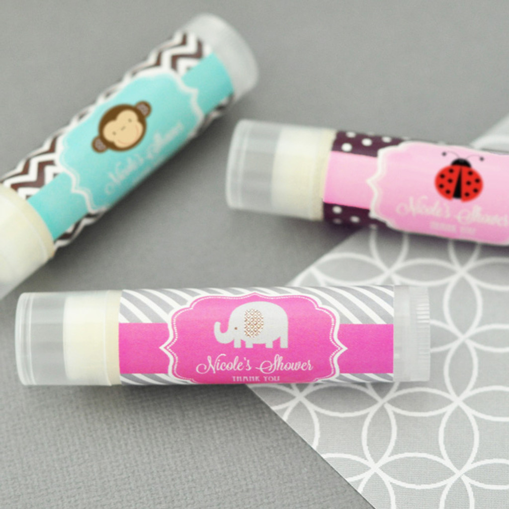 Personalized Lip Balm Favors - Baby Shower Favors - Animal Theme Party Favor 24ct