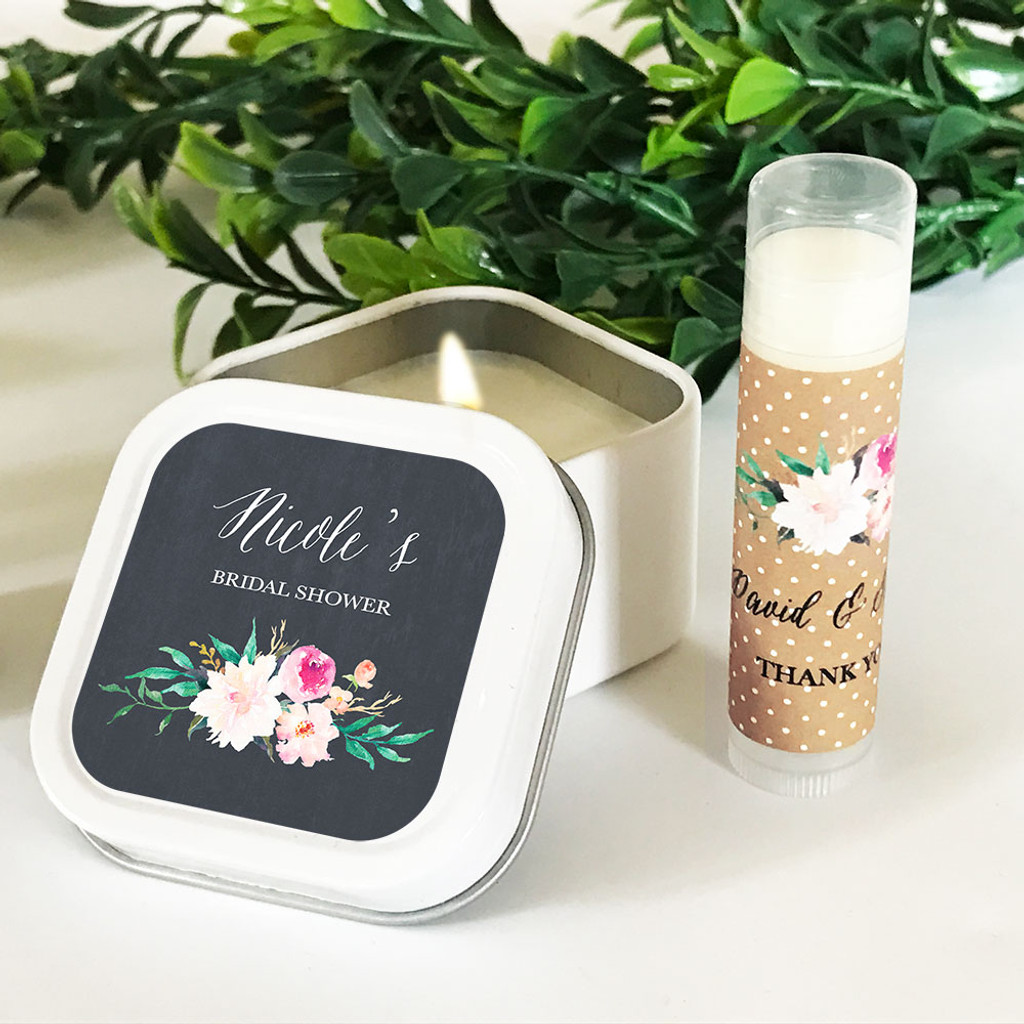 Personalized Floral Garden Square Candle Tins - Candle Favors