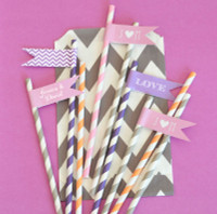 Personalized Flag Labels - Wedding Straw Flags (40ct)