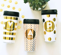 Monogram Travel Coffee Mug - Gold Coffee Tumbler - Monogram Coffee Cup 1ct