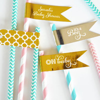 Foil Baby Shower Flag Labels - Its A Boy Straw Flags  (40ct)