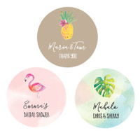 Pineapple Labels 36ct - Palmtree Stickers - Hawaii Labels - Beach Party Theme - Favor Sticker - Sea Party Labels - Palmtree Labels