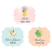 Beach Wedding Labels - Palm tree Stickers - Hawaii Labels - Favor Sticker - Sea Party Favor Labels 24ct