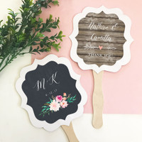 Personalized Floral Garden Paddle Fans - Hand Fans 12ct