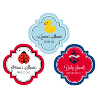 Baby Shower Sticker, Nautical, Elephant, Giraffe, Gender Reveal Labels, Twins Baby Shower 48ct