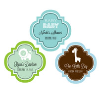 Baby Shower Personalized Sticker, Carriage, Elephant, Giraffe, Ducky Favor Labels 48ct