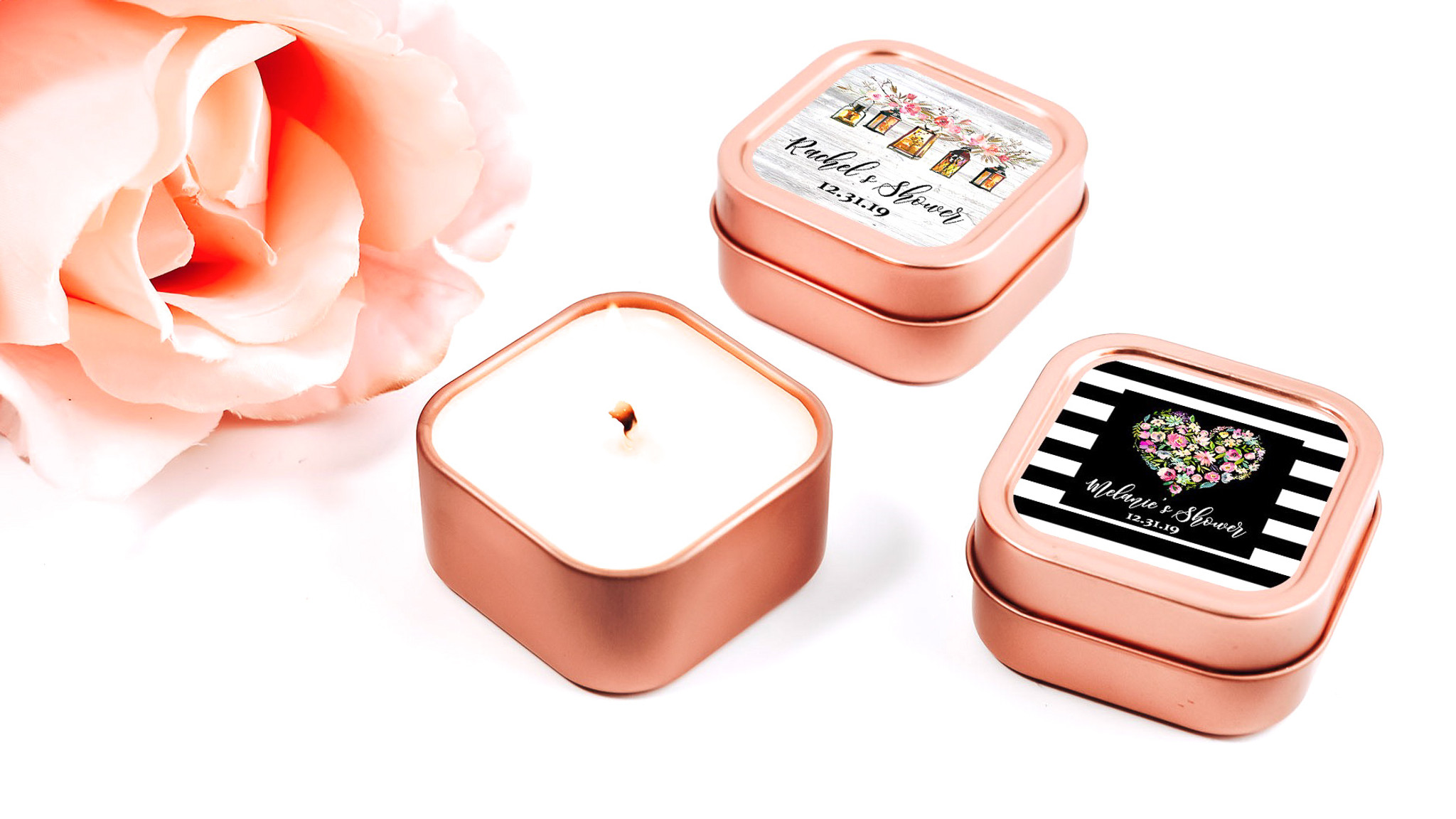 New Rose Gold Tin Candles