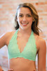 Let There Be Lace Halter Bralette in Mint front view.