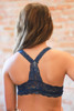 Delicately Stunning Y-Back Lace Bralette in Navy back view.