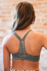 Delicately Stunning Y-Back Lace Bralette in Dark Gray back view.