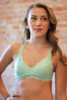 Delicately Stunning Y-Back Lace Bralette in Light Mint front view.