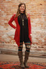 Simply Basics Burgundy Handkerchief Cardigan with Hood full body front view.
