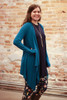 Simply Basics Teal Handkerchief Cardigan with Hood side view.