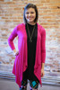 Simply Basics Magenta Handkerchief Cardigan with Hood front view.