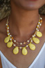 Yellow Teardrop Double Row Dangle Necklace