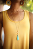 Delicate Gold and Turquoise Teardrop Necklace