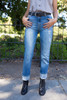 Dashing in Denim Folded Hem Straight Jeans front view.