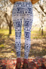 Navy and White Elephant Printed Butter Soft Leggings with Yoga Band back view.