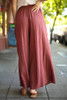 Blissful in Burgundy Cotton Palazzo Pants back view.
