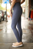 Activated Athletics Deep Blue Gray Cargo Leggings side view.