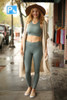 Activated Athletics Teal Blue Burnout Mesh Sports Bra full body front view.