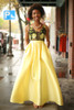 Yellow Beauty Floral Embroidered Satin Gown with Pockets front view.