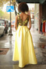 Yellow Beauty Floral Embroidered Satin Gown with Pockets back view.