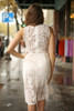 Dressed to the Nines Ivory Lace Sleeveless Bodycon Dress back view.