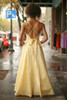 Midnight Glamour Yellow Satin Gown with Rhinestone Band back view.