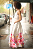 Floral Garden Ivory Floral Satin Gown side view.