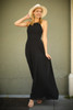 Strappy Chic Black Strappy Back Maxi Dress front view.